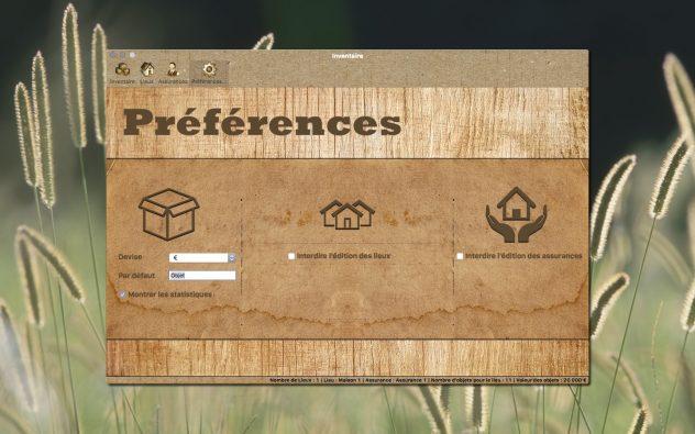 Inventaire Préférences